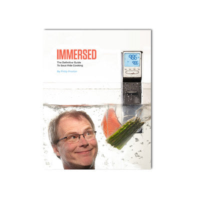 "Front Cover of ""Immersed"" book with orange title and a man's head at the bottom-left of the image. The top-right features a PolyScience sous vide unit hovering above a piece of bagged fish."