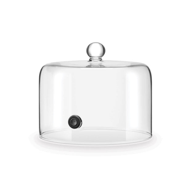 A glass dome with a flat bottom, bulb-shaped handle and a rubber seal on the front face.