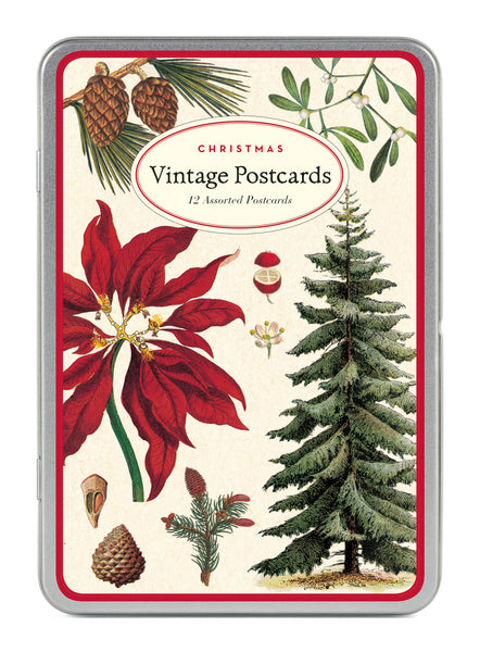 Cavallini & Co. Christmas Botanical Glitter Greetings Vintage Postcard Set