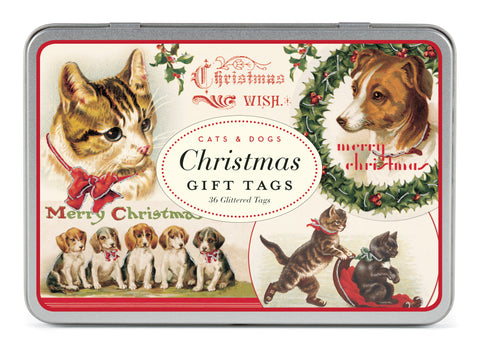 Cavallini & Co. Christmas Cats & Dogs Glitter Gift Tag Set