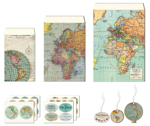 Cavallini & Co. Vintage Maps Petite Parcel Wrapping Set