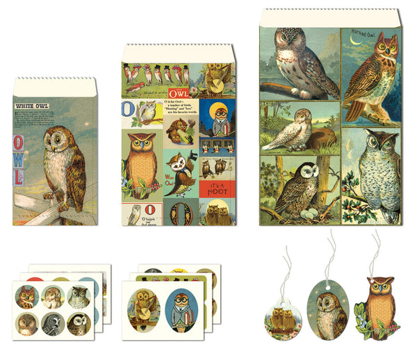 Cavallini & Co. Vintage Owls Petite Parcel Wrapping Set