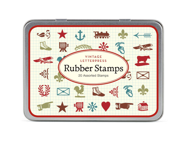 Cavallini & Co. Vintage Letterpress Mini Rubber Stamp Set