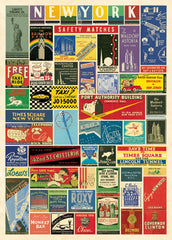 Cavallini & Co. New York City Matchbook Collage Decorative Paper Sheet