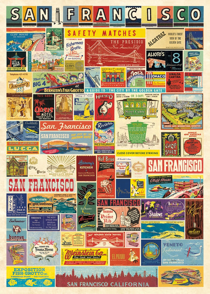 Cavallini & Co. San Francisco Matchbook Collage Decorative Paper Sheet