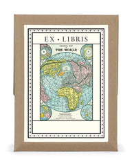 Cavallini & Co. World Map Ex Libris Bookplate Set