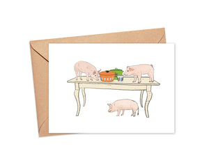 """Let's Pig Out"" Blank Card"