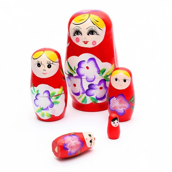 Lovely Russian Nesting Matryoshka 5-Piece Wooden Doll Set