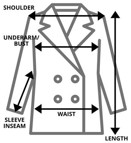 Vintage Jacket Measurement Size Guide