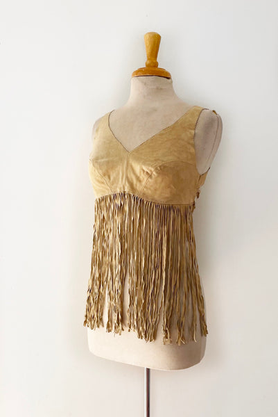 90's Suede Fringe Crop Top