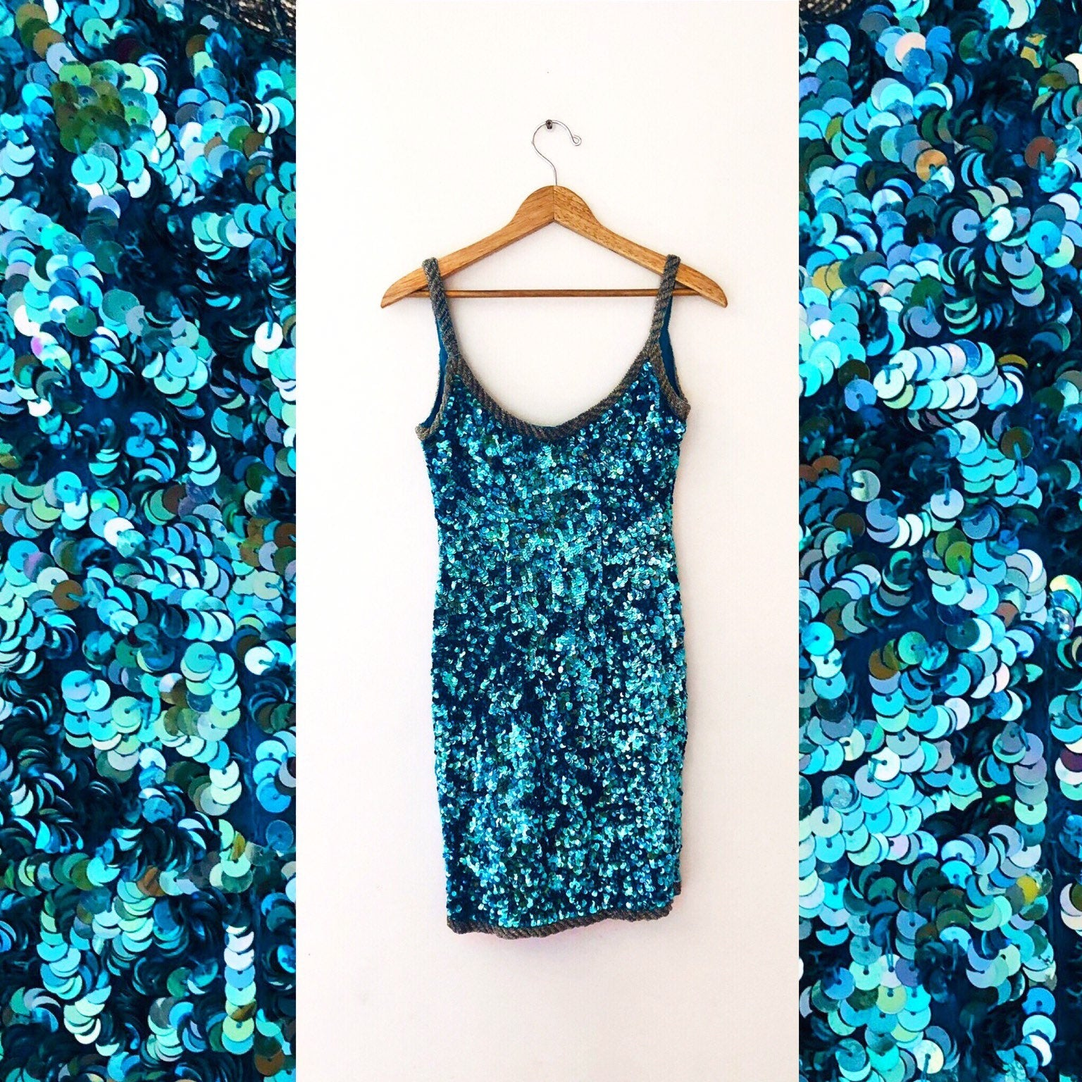 80's Aqua Sequin Party Dress