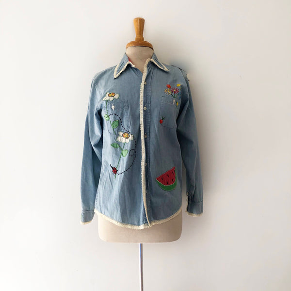 70's Chambray Top with Scene Embroidery