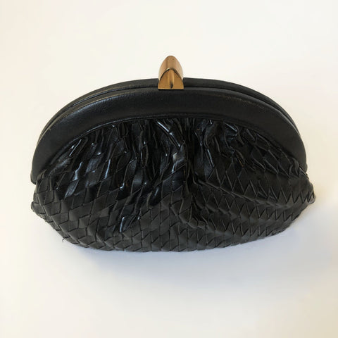 60's Black Woven Leather Crossbody/Clutch