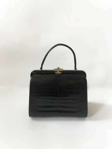 50's Black Crocodile Leather Kelly Bag
