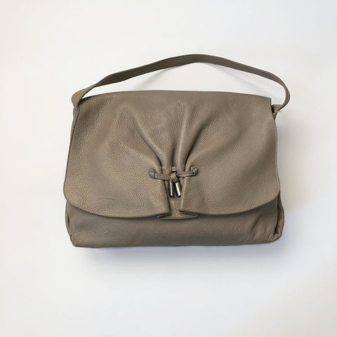 70's Beige Leather Hobo Bag