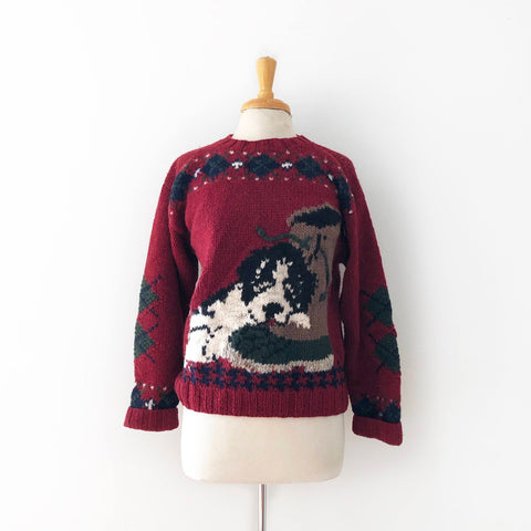 80's Chunky Knit Dog Sweater