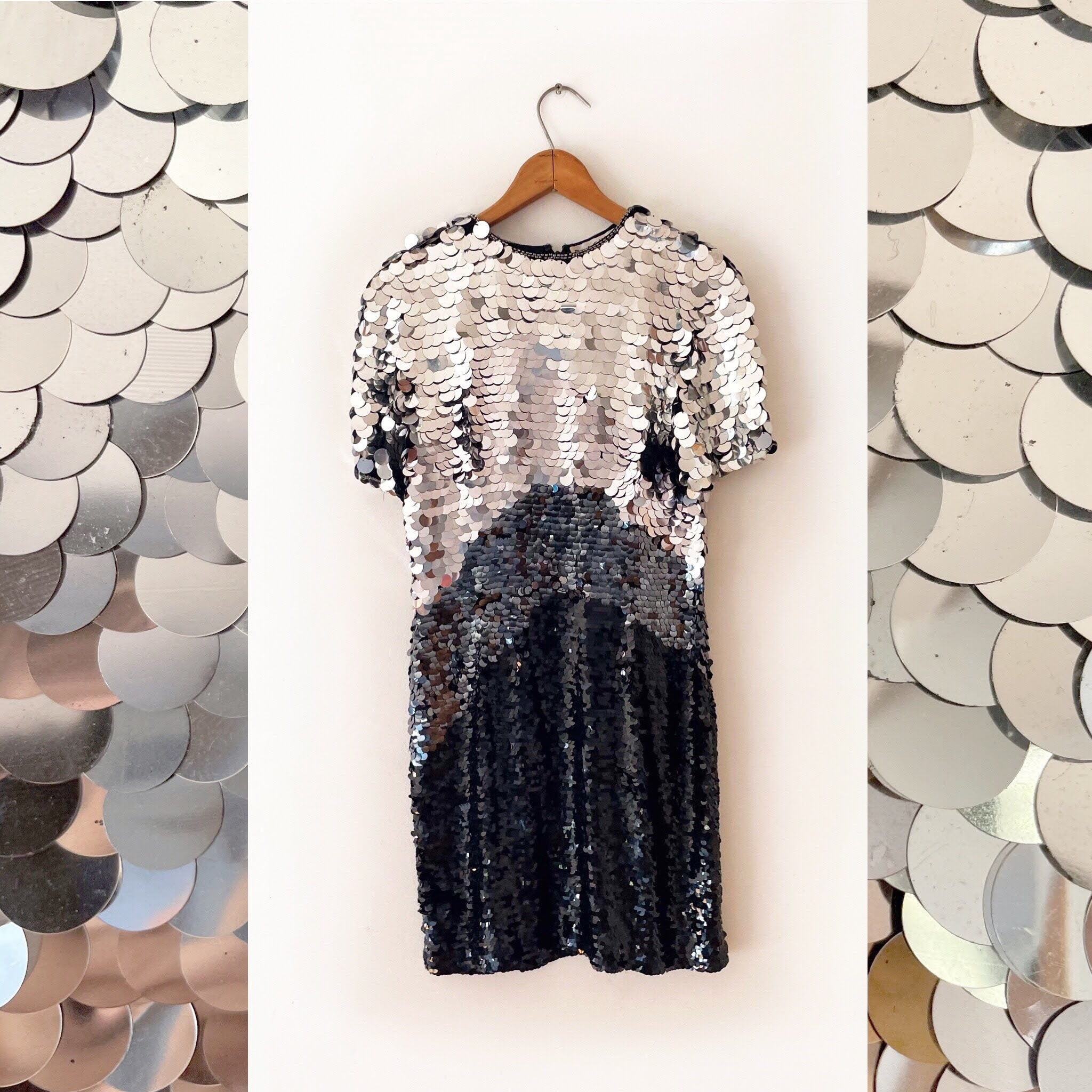 80's Metallic Sequin Party Dress