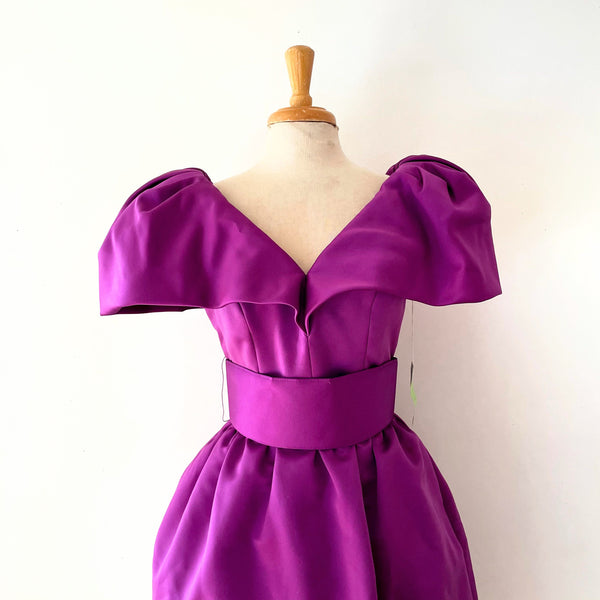"80's Orchid Exaggerated Shoulder Cocktail Dress ""Deadstock Vintage"""