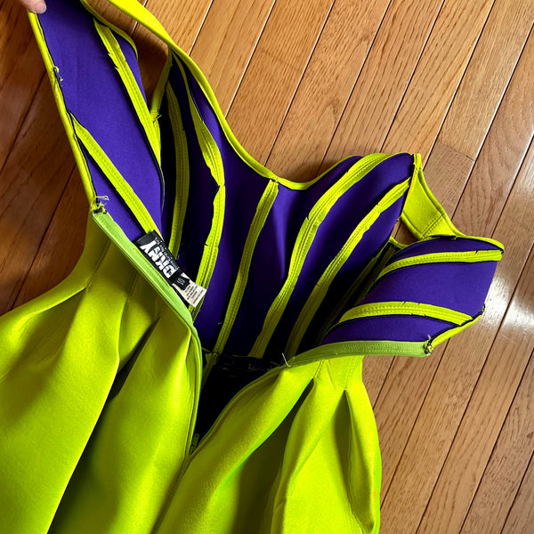 90's Lime Green Scuba Skater Dress