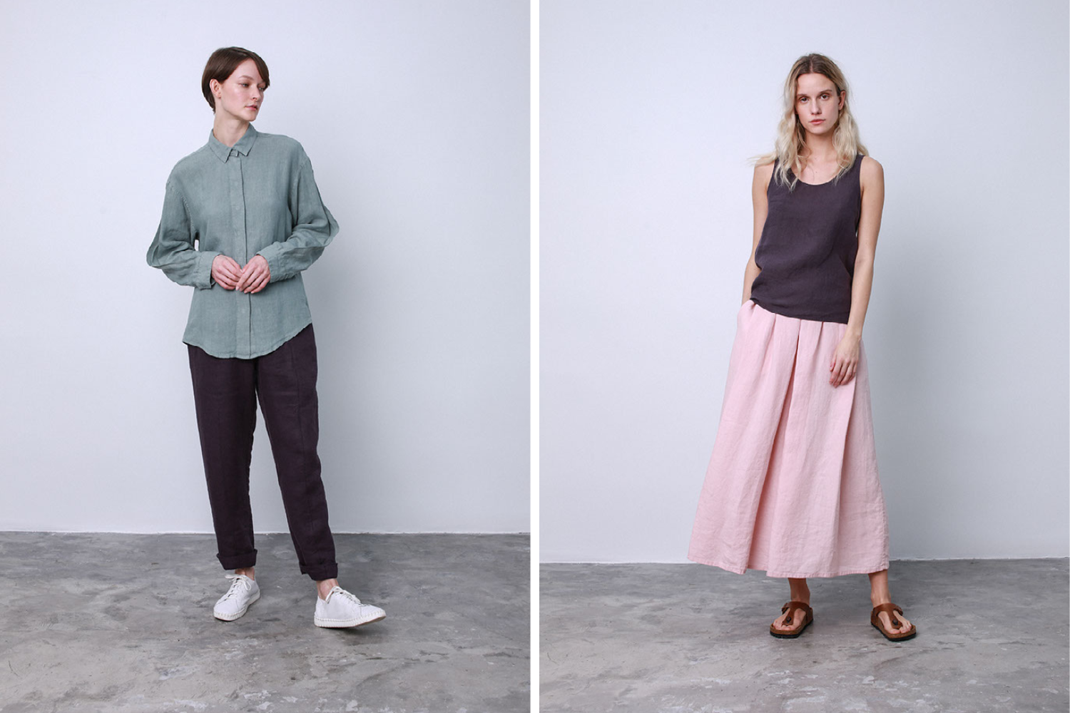 linen trousers and skirt
