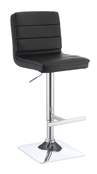 G120695 Contemporary Black Adjustable Padded Back Bar Stool image