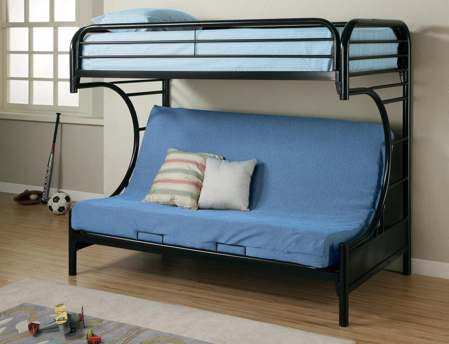 G2253 Contemporary Glossy Black Futon Bunk Bed image