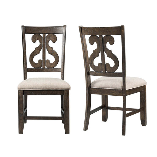 Stone Wooden Swirl Back Side Chair Set of 2 image