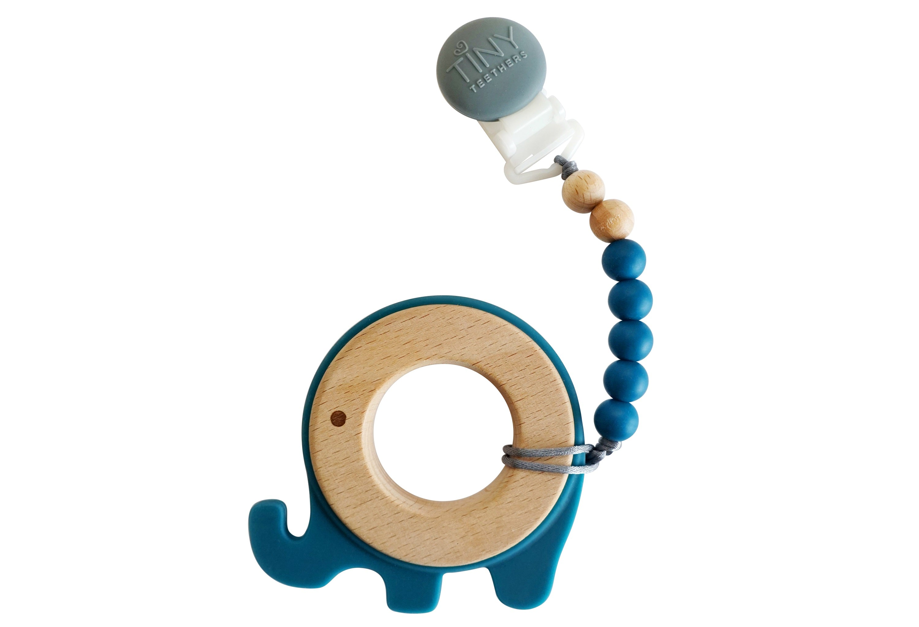 Elephant Teether: Wood + Silicone