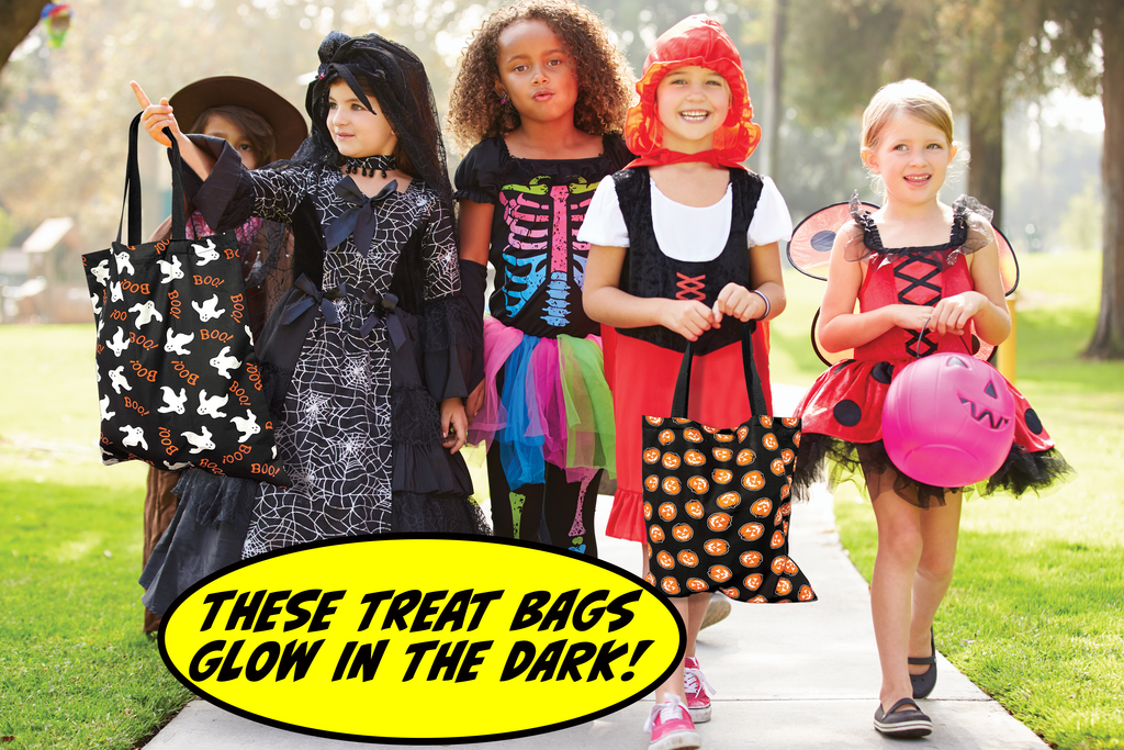 GIRLS TRICK OR TREATING WITH BAGS