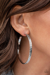 Paparazzi Earring -TREAD All About It - Silver