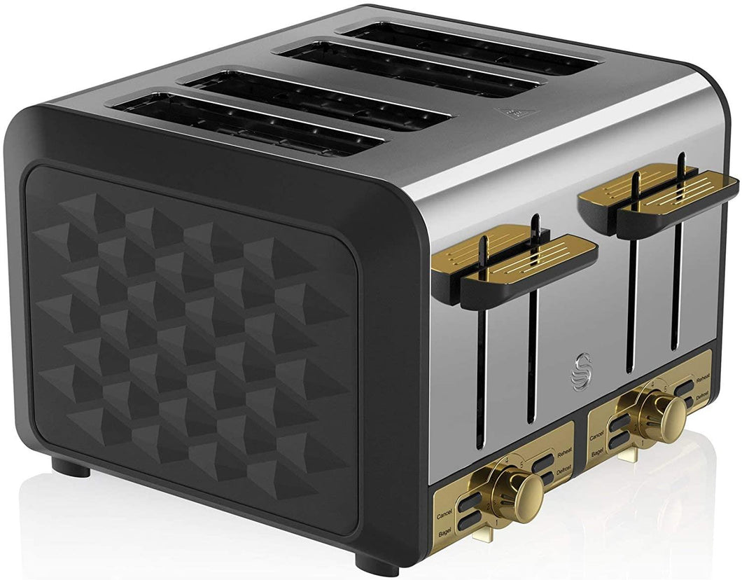Swan Gatsby 4-Slice Toaster Black and Gold