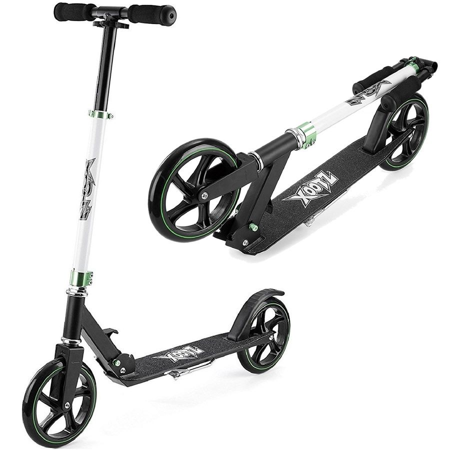 Xootz Kids Big Wheel Scooter Foldable & Adjustable Handlebars in Black & White