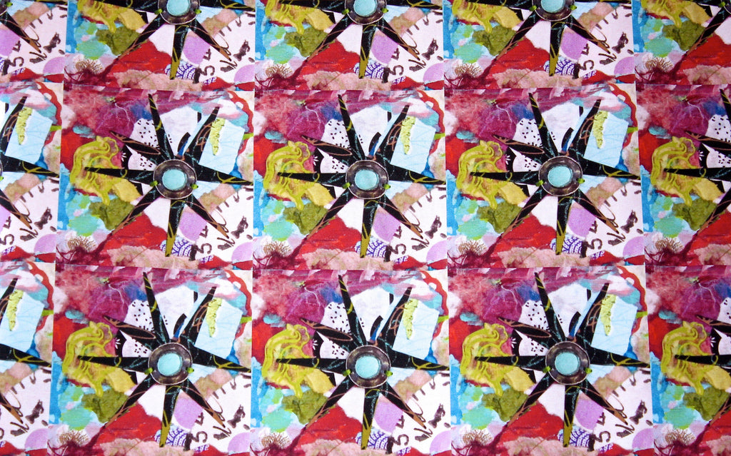 Star Flower (turquoise) Fabric by the yard