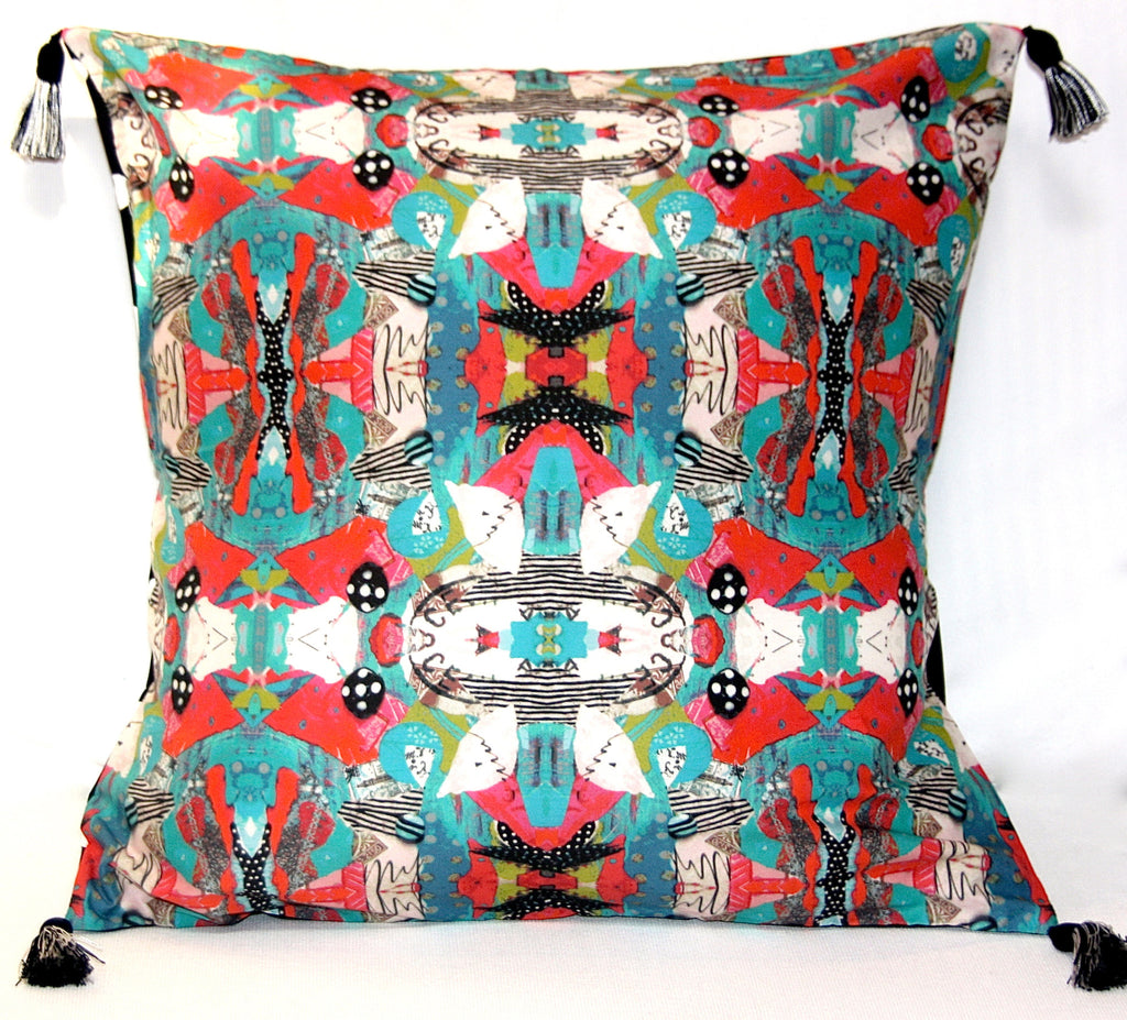Turquoise Bird Art Pillow