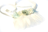 Flower Bib Necklace | Mint/Ivory