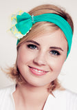 Mesh Headband | Fan | Turquoise/Yellow