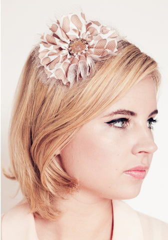 Flower Headband | Peach/Ivory