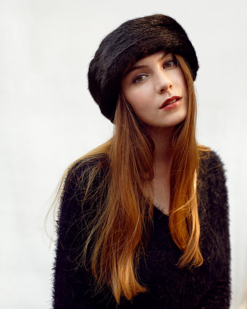 Black Fur Headband