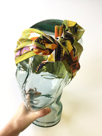 Silk/Cotton Demi-Turban | Green w/ Mutli