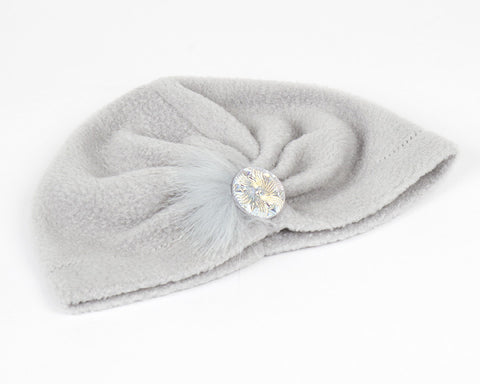 Grey Fleece Turban for Kids and Baby