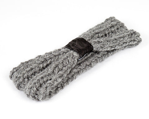 Grey and Black Kids Knit Headband