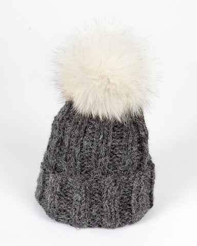 Charcoal Knit Kids Hat with Pom Pom