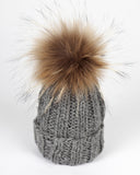 Grey Baby Kids Toque with Fur Pom Pom