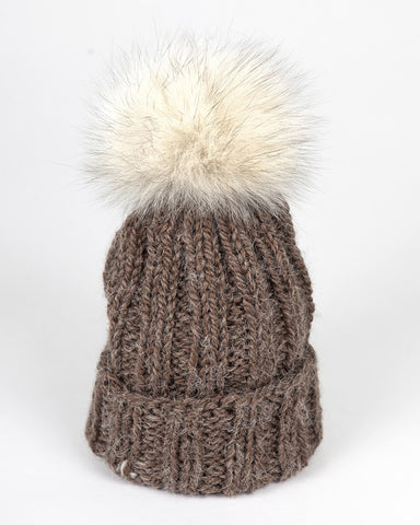 Kids Brown Knit Hat with Fur Pom Pom