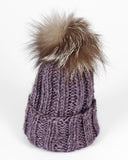 Lavender Kids/Baby Knit Hat with Fur Pom Pom