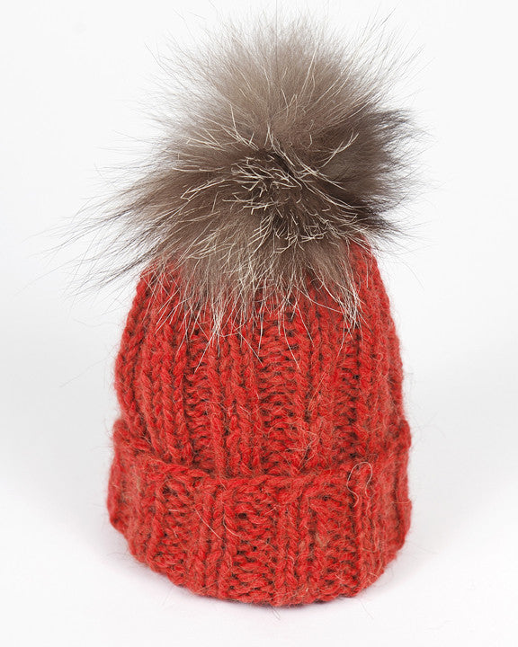 Kid and Baby Knit Hat with Fur Pom Pom in Red