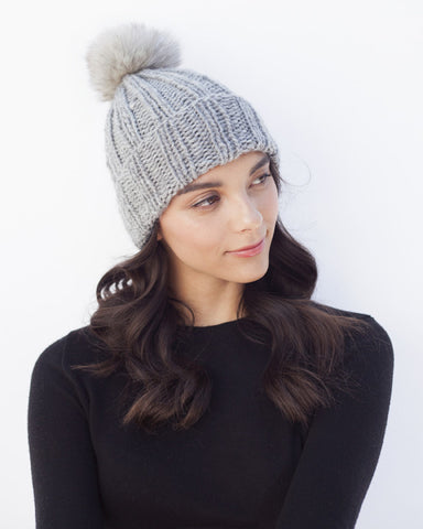 Grey Knit Hat with Fur Pom Pom