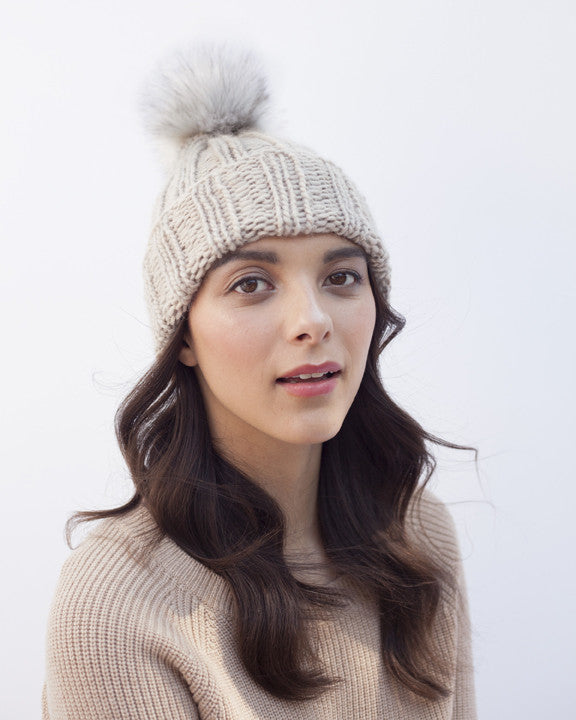 Tan Brown Knit Hat with Fur Pom Pom