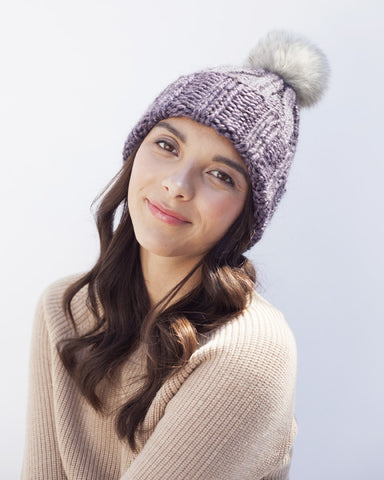 Lavender Knit Hat with Fur Pom Pom