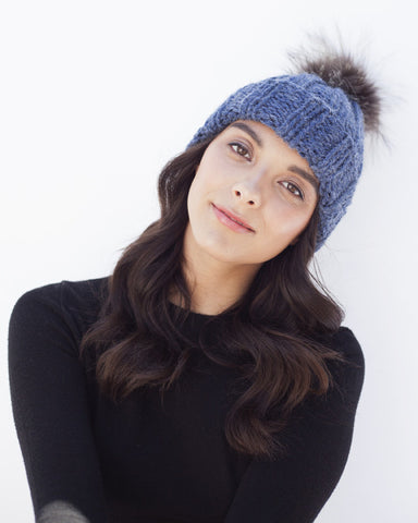 Blue Knit Hat with Fur Pom Pom
